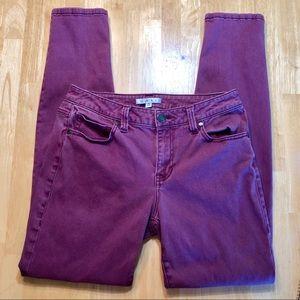 Cabi 126 Bordeaux Wash Skinny Jeans Sz 6